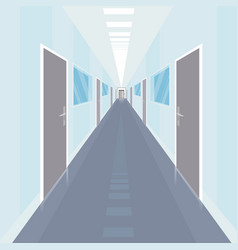 Interior of long and narrow corridor in office vector