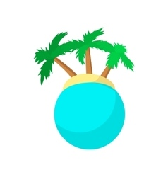 Island with palm trees icon cartoon style vector