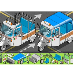 Isometric Italian Rickshaw in Front View vector image