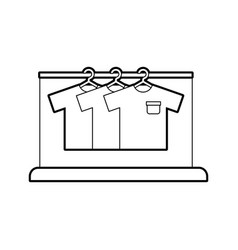 Laundry garments hanging icon vector