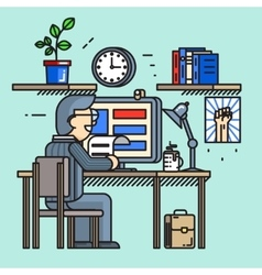 Modern creative office desk worker in line flat vector