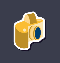 Paper sticker on stylish background camera vector