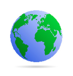 pixel earth globe vector image
