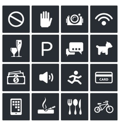 Prohibition icons set vector image