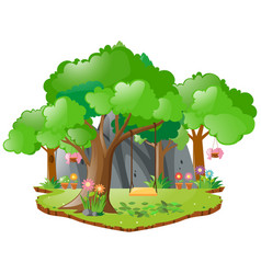 Scene with swing on the tree vector
