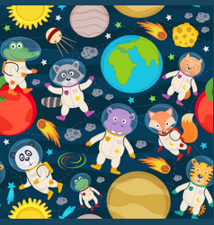 Seamless pattern with animals in space vector