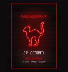 silhouette cat neon signhappy halloween bright vector image vector image