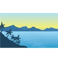 Silhouette of beach and hills background vector