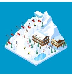Skiing mountain isometric landscape vector