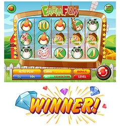 Slot game template with farm animal characters vector