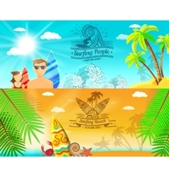 Surf banner horizontal vector