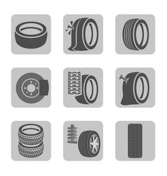 Tire shop icons vector