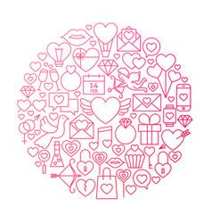 valentine day line icon circle design vector image vector image