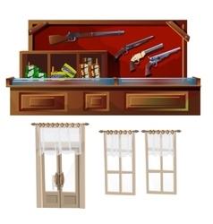 Weapons shop door and windows vector
