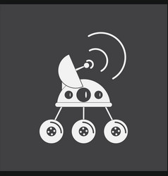 White icon on black background spacecraft and vector
