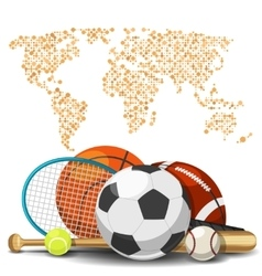 World sport deportes concept Sports equipment vector image