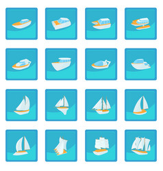 Yacht icon blue app vector