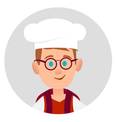 Youngster with glasses and backpack in chef s hood vector