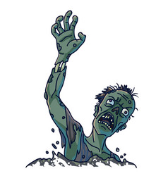 Zombie that climbs out of ground isolated vector