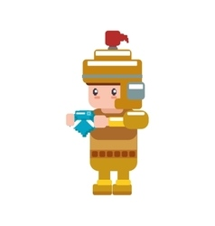Soldier male pixel video game play icon vector