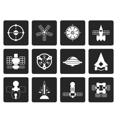 Black different kinds of future spacecraft icons vector