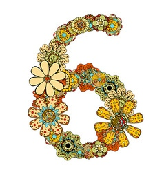 Hand drawn floral number 6 vector