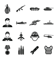War icons set simple style vector