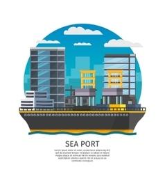 Sea port design vector