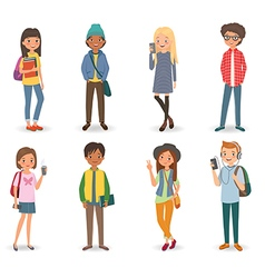 International students with books phones and vector image