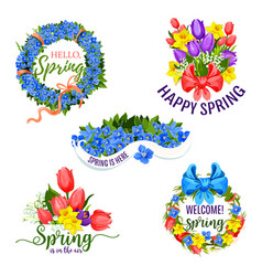 Spring flowers icons for holiday greeting vector