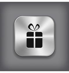 Gift icon - metal app button vector image