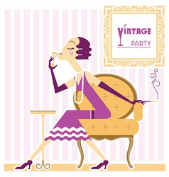 Vintage flapper girl with cigaret vector
