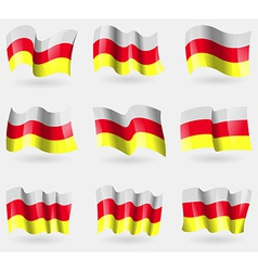 Set of north ossetia flags in the air vector