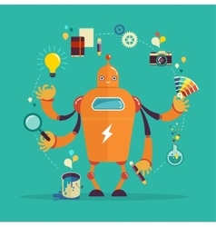 Robot graphic designer - creative thinking vector