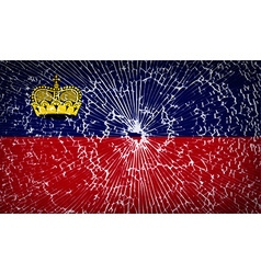Flags liechtenstein with broken glass texture vector