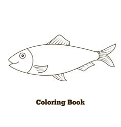 Coloring book herring fish cartoon vector