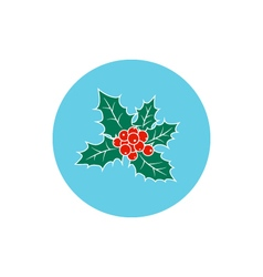 Icon colorful christmas holly berry vector