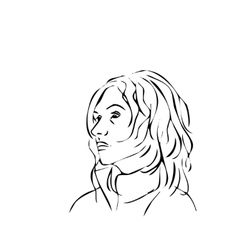 simple line of a woman face profile vector image