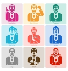 Monochrome emotion icons set vector