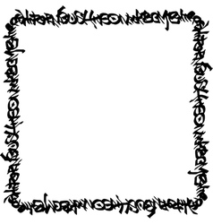 Square frame black graffiti tag pattern on white vector
