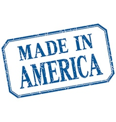 America - made in blue vintage isolated label vector
