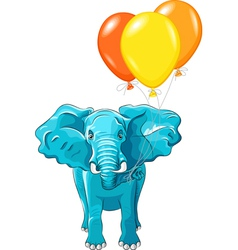 Blue african elephant with ballons vector