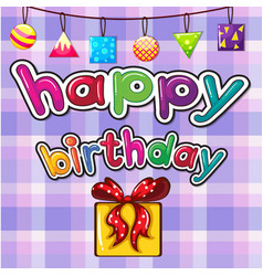 birthday card with present box vector image vector image