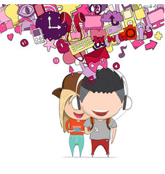 boy and girl teens was selfie with phone happy vector image