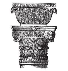 Byzantine capital round vintage engraving vector