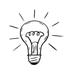 Cartoon of shining light bulb vector