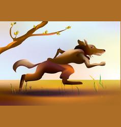 Colorful cartoon running wolf vector