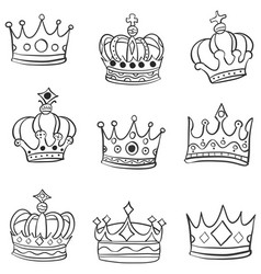 crown various hand draw doodles vector image