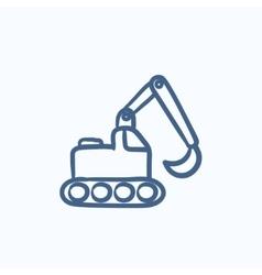 Excavator sketch icon vector image