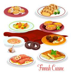 Finnish cuisine fish vegetable dish cartoon icons vector